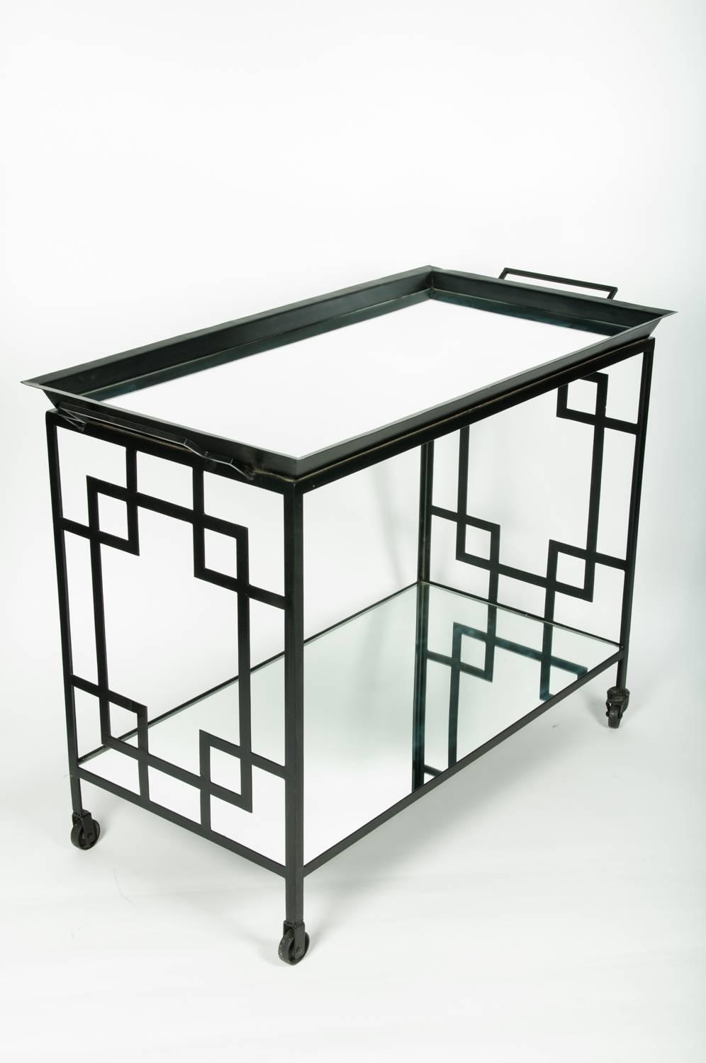 Mid century black metal bar cart serving table for sale at for Mid century bistro table
