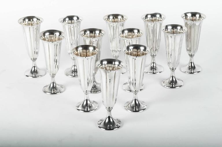 Vintage Silver Plated Champagne Flute Set, USA In Excellent Condition For Sale In New York, NY