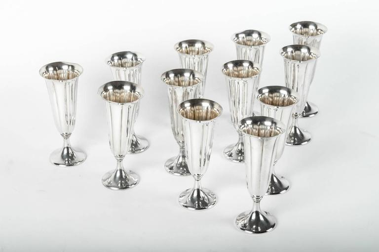 Vintage Silver Plated Champagne Flute Set, USA For Sale 1