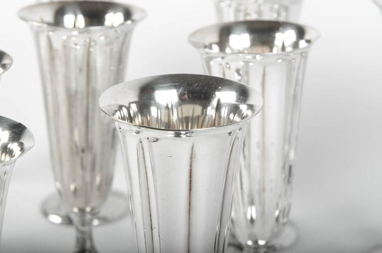 Vintage Silver Plated Champagne Flute Set, USA For Sale 2