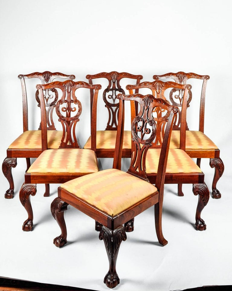 Vintage Set Eight Georgian Style Mahogany Baker Dining ...