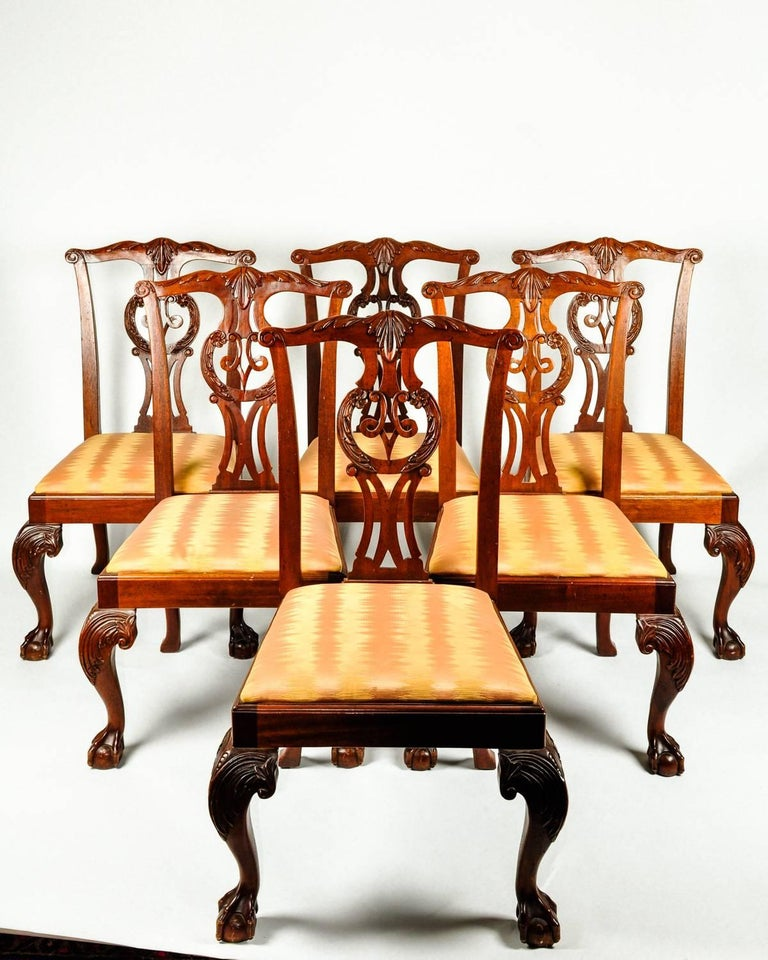 Vintage Set Eight Georgian Style Mahogany Baker Dining Room Chairs For Sale 2