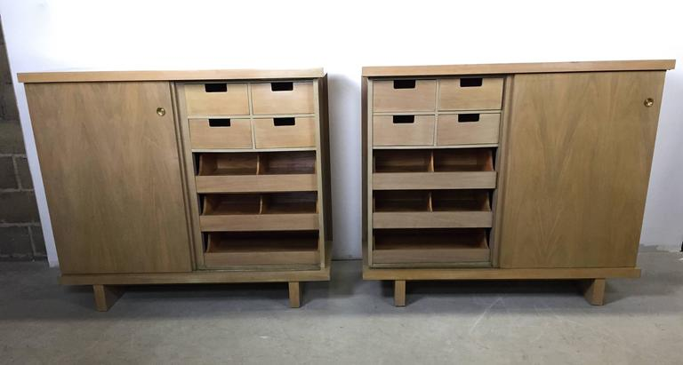 Mid-Century Modern Large Pair of Matching Chests in Bleached Walnut For Sale