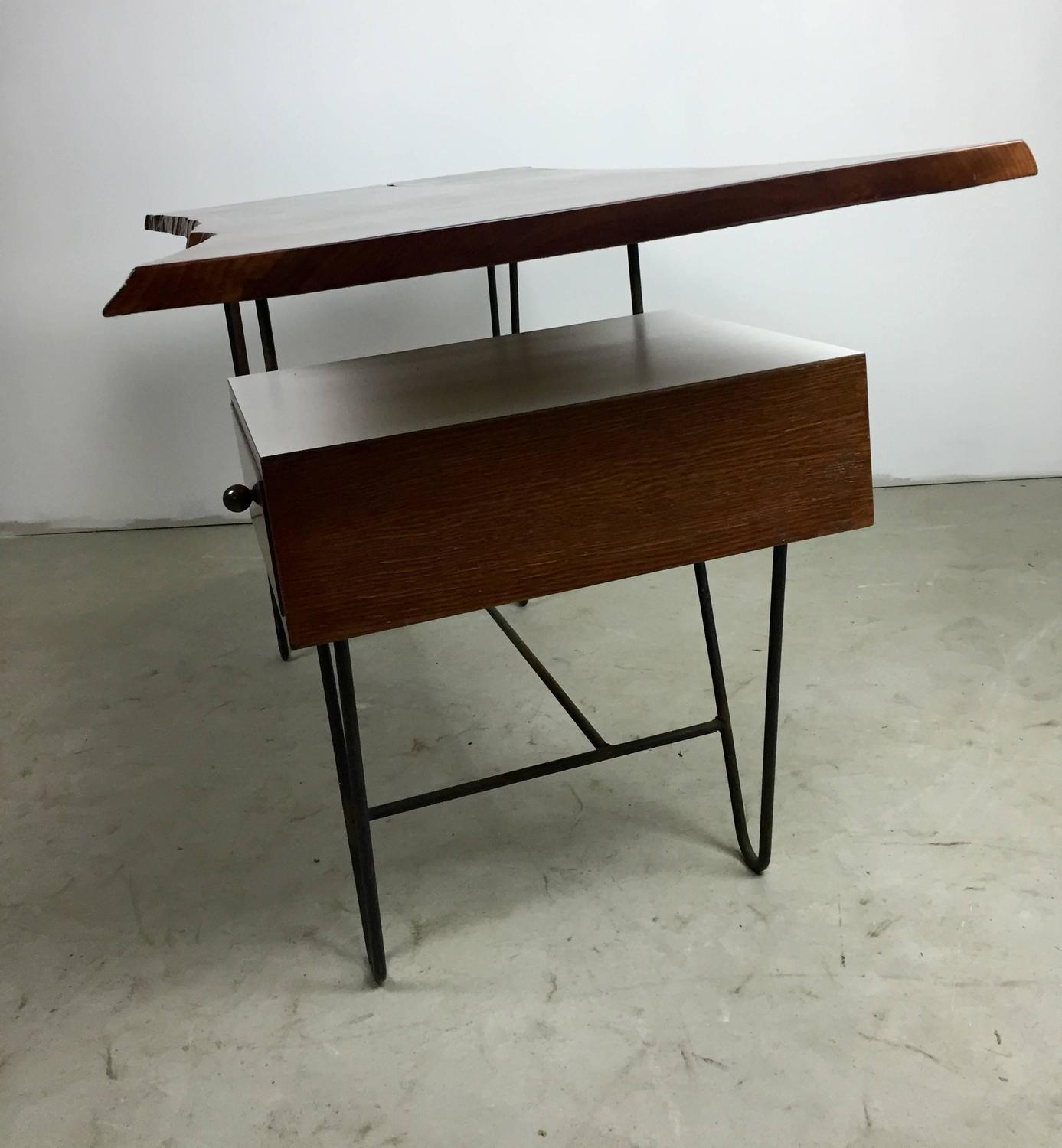 1950s hairpin desk with floating drawer and custom free for Floating desk for sale