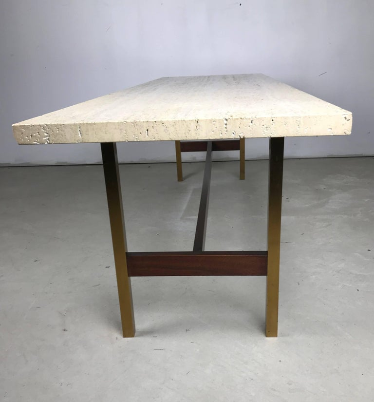 Unique travertine walnut and brass cocktail table designed for Unusual cocktail tables