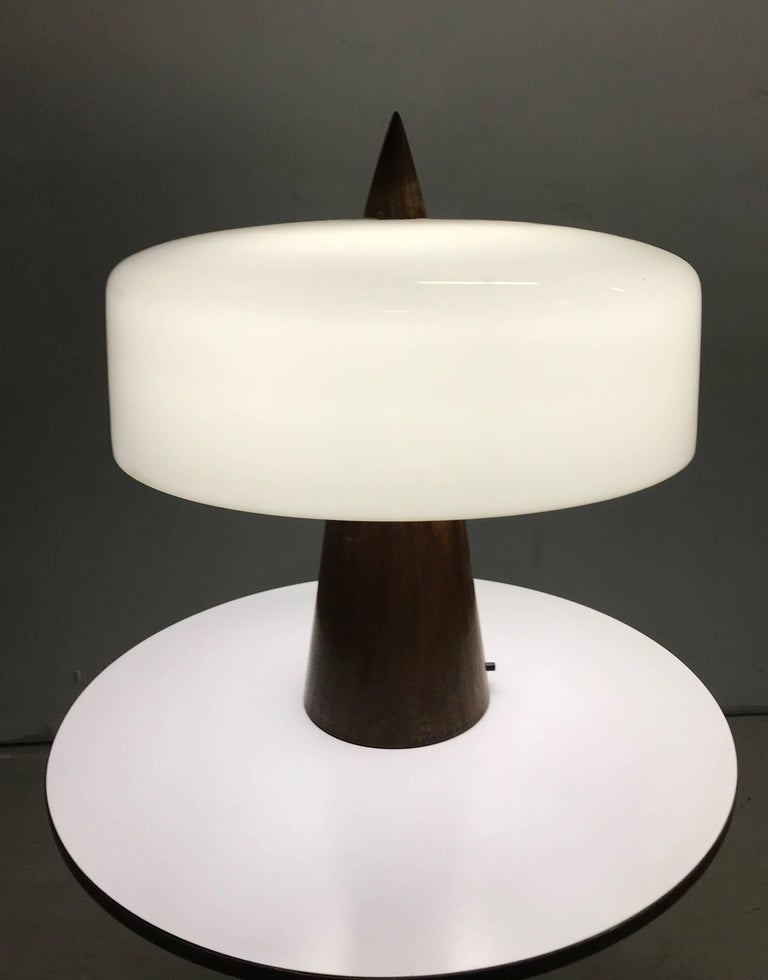 American One off Walnut and Milk Glass Desk Lamp Designed by Phillip Enfield For Sale