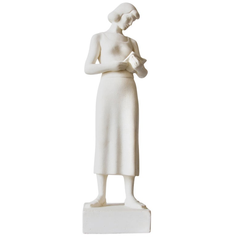 Maurice Glickman Sculpture of Woman with Book For Sale