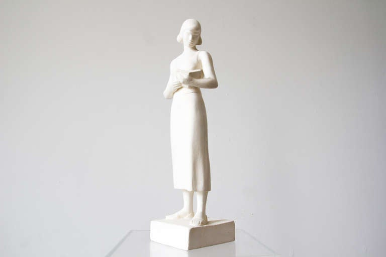 Art Deco Maurice Glickman Sculpture of Woman with Book For Sale