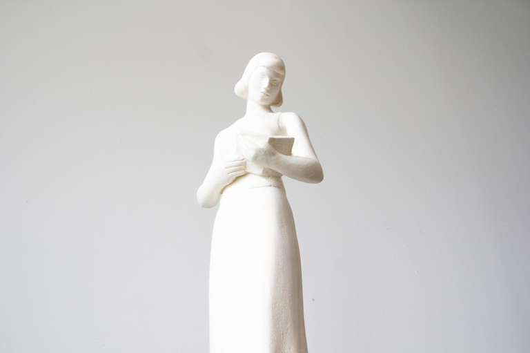 American Maurice Glickman Sculpture of Woman with Book For Sale