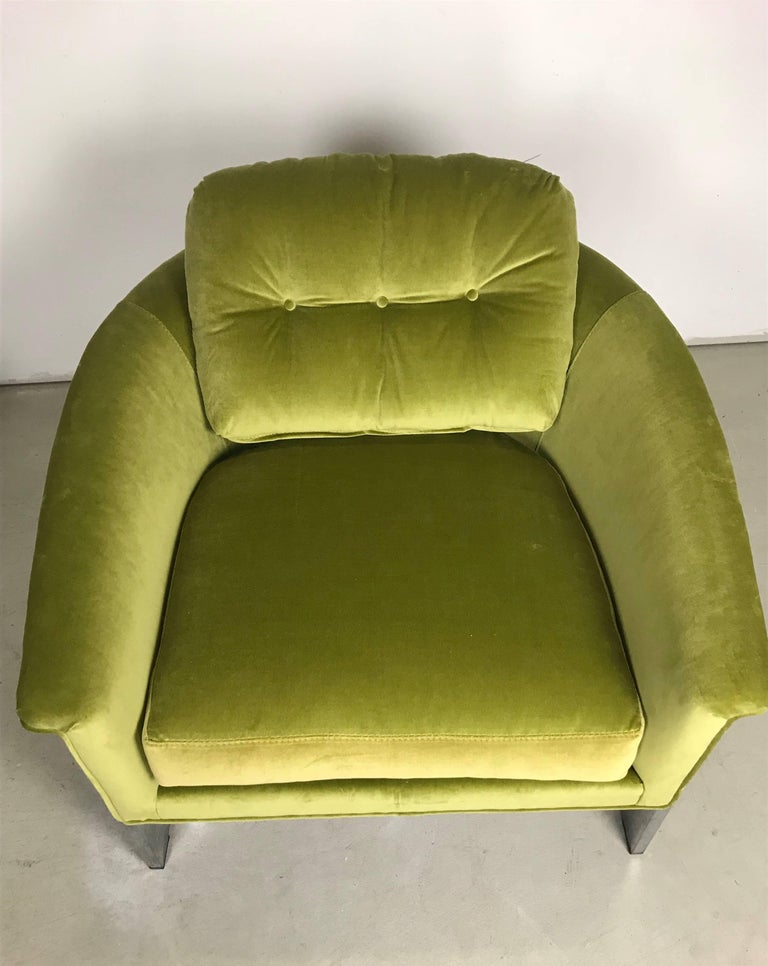 Mid 20th Century Pair Of Italian 1960s Chrome And Green Velvet Club Chairs For
