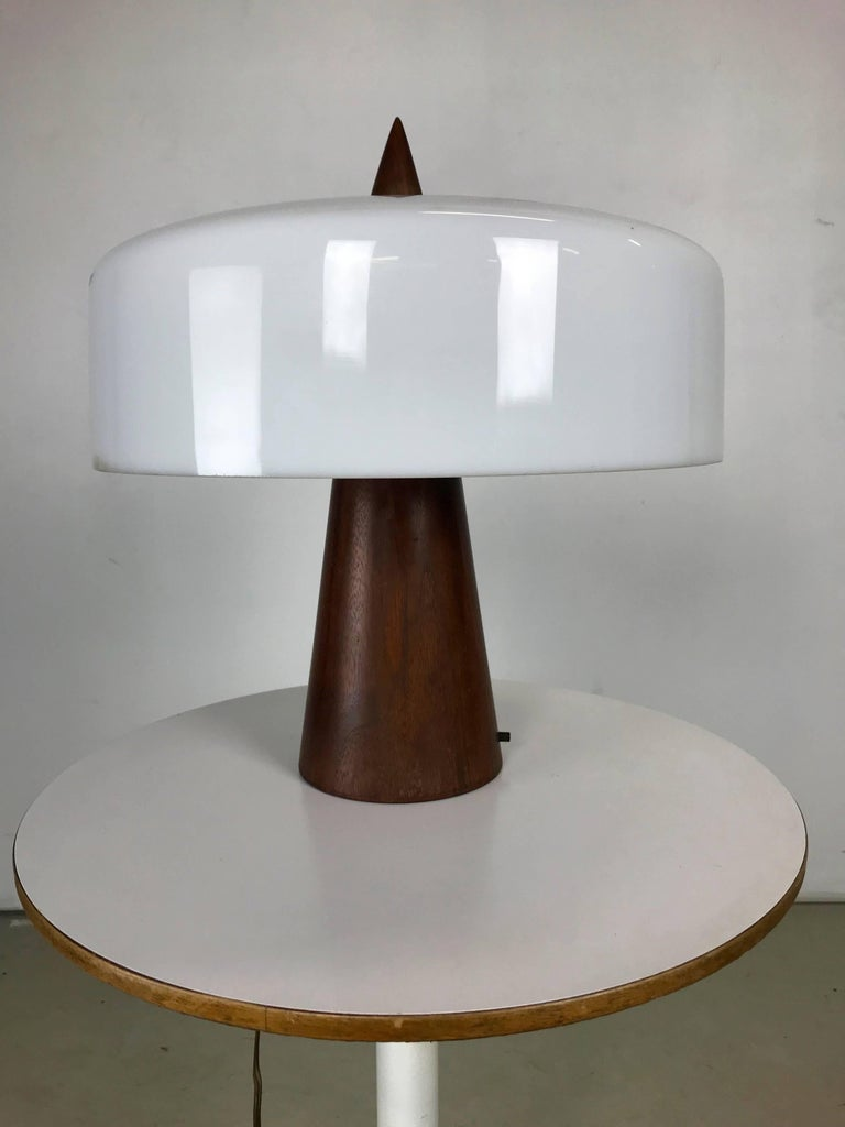 Turned One off Walnut and Milk Glass Desk Lamp Designed by Phillip Enfield For Sale