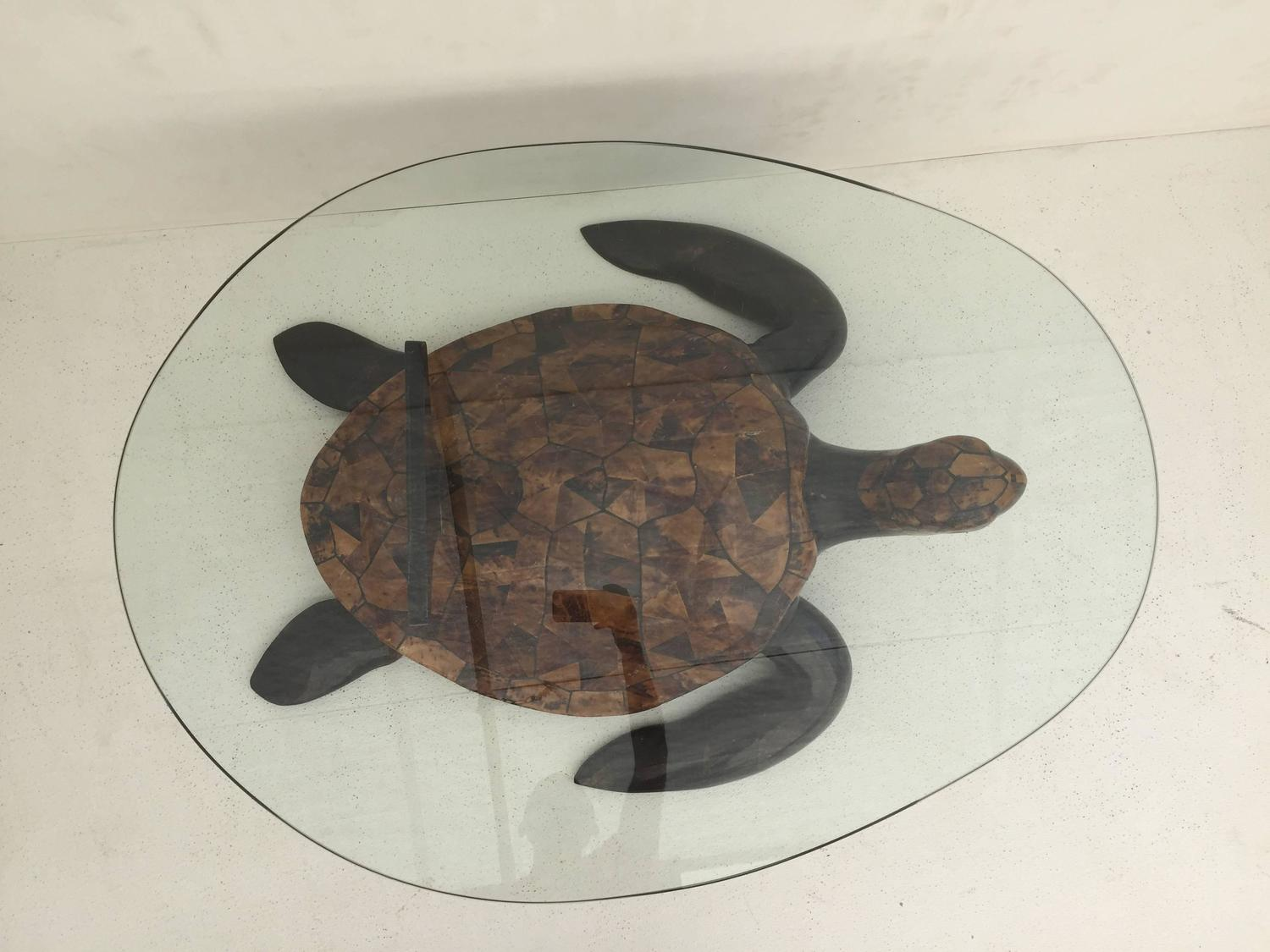 Tessellated Coconut Shell Turtle Coffee Table For Sale At