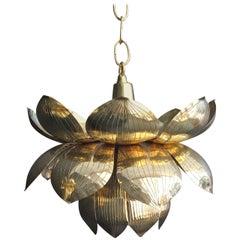 Small Brass Lotus Pendant Light by Feldman