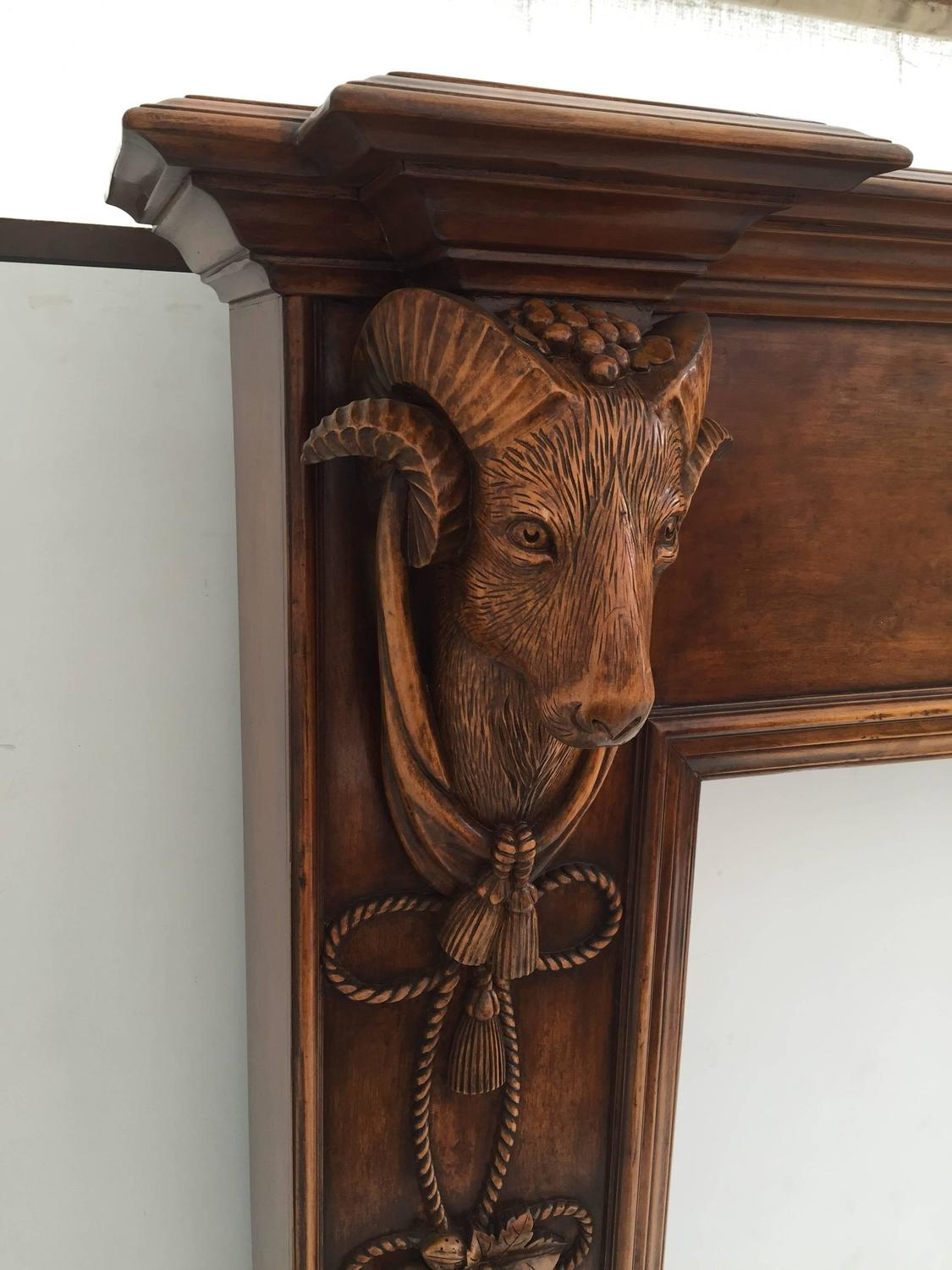 Carved Ram Head Motif Fireplace Mantel At 1stdibs