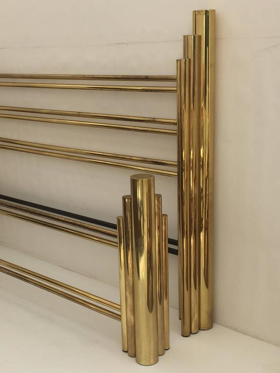 Tubular Brass Art Deco Style Skyscraper King Size Bed At