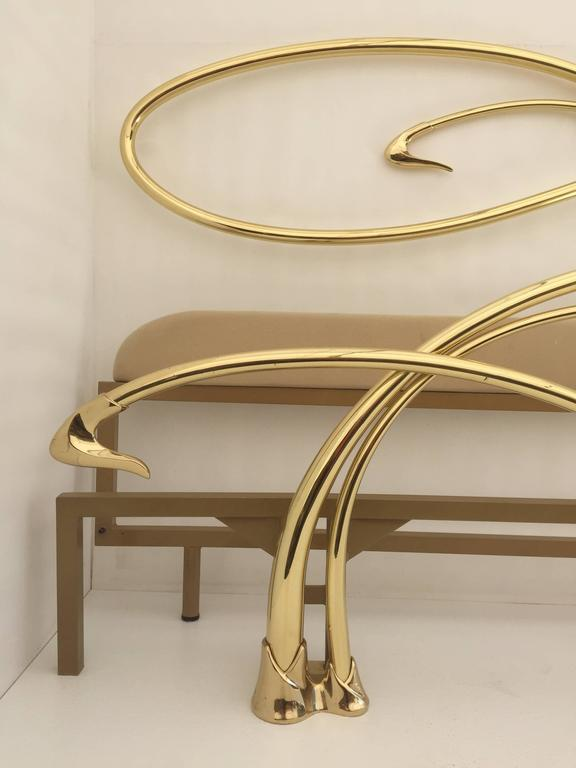 American Swan Motif Art Nouveau Style Brass King-Size Bed For Sale