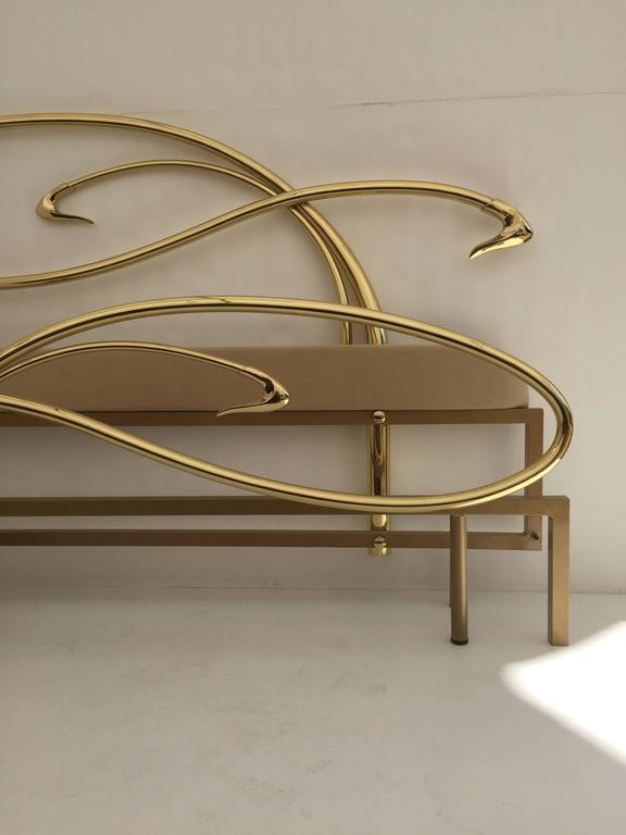 Swan Motif Art Nouveau Style Brass King Size Bed For Sale