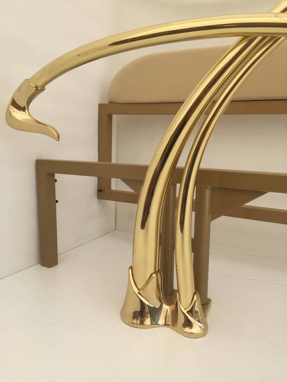 Metal Swan Motif Art Nouveau Style Brass King-Size Bed For Sale