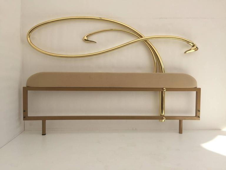 Swan Motif Art Nouveau Style Brass King-Size Bed In Excellent Condition For Sale In North Hollywood, CA