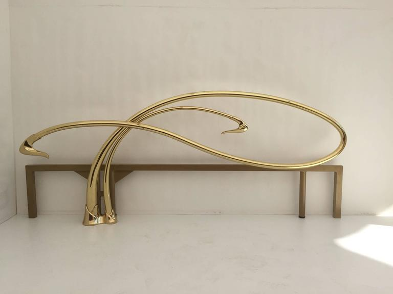 Late 20th Century Swan Motif Art Nouveau Style Brass King-Size Bed For Sale