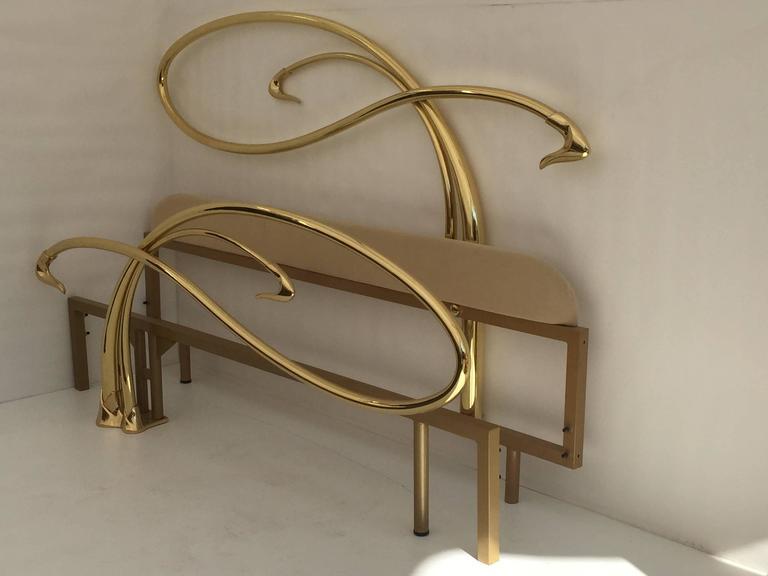 Swan motif Art Nouveau style king-size brass bed. Will accommodate 72