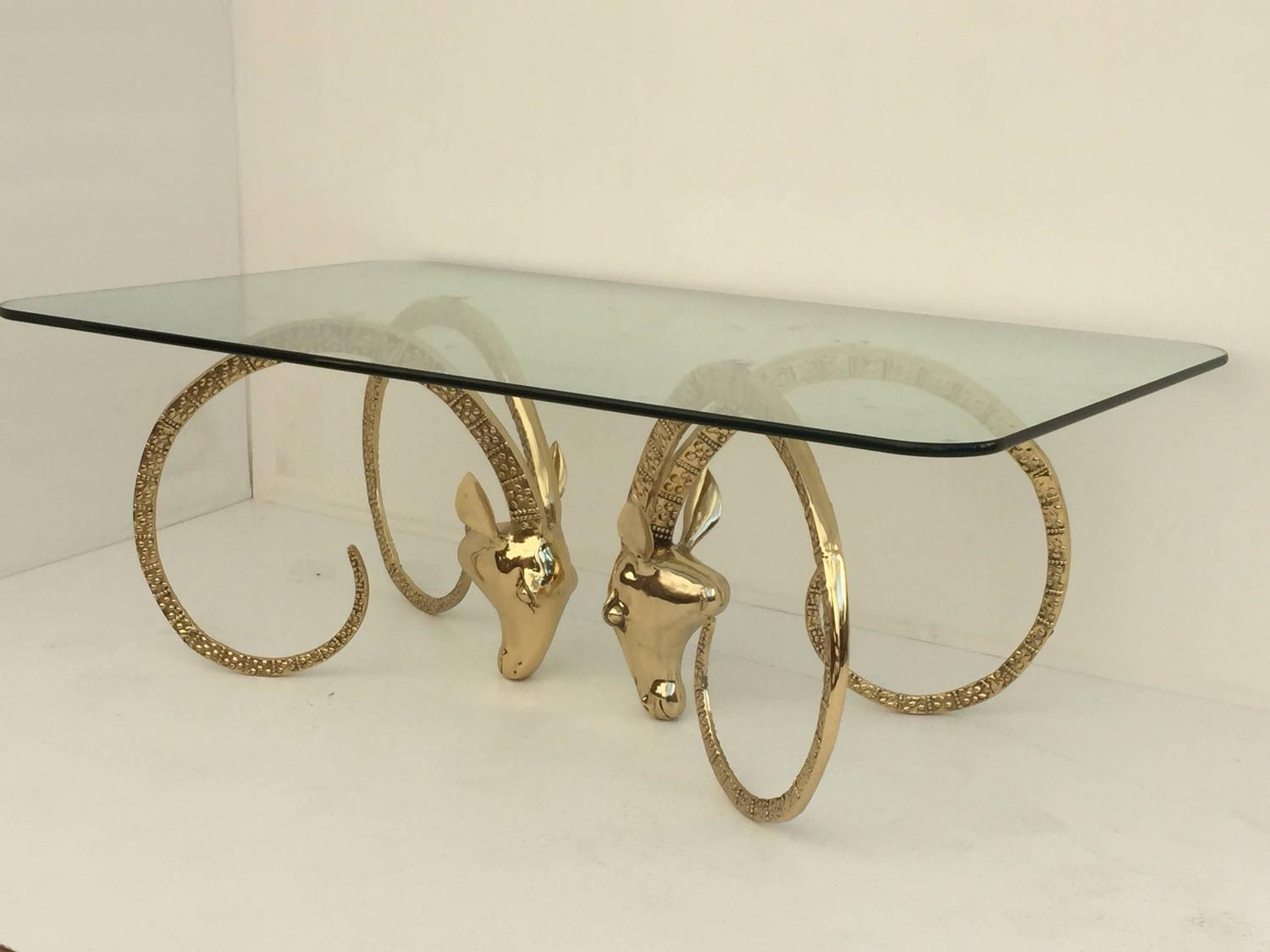 Polished Brass Ibex or Ram's Head Coffee Table For Sale at 1stdibs