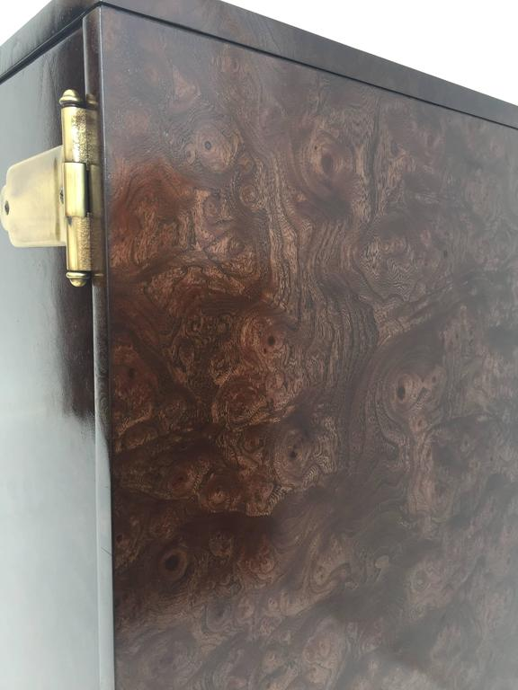 Pair of Mastercraft Burl Wood and Brass Bedside Tables 8