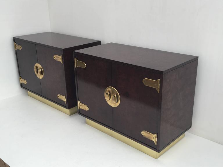 Pair of Mastercraft Burl Wood and Brass Bedside Tables 2
