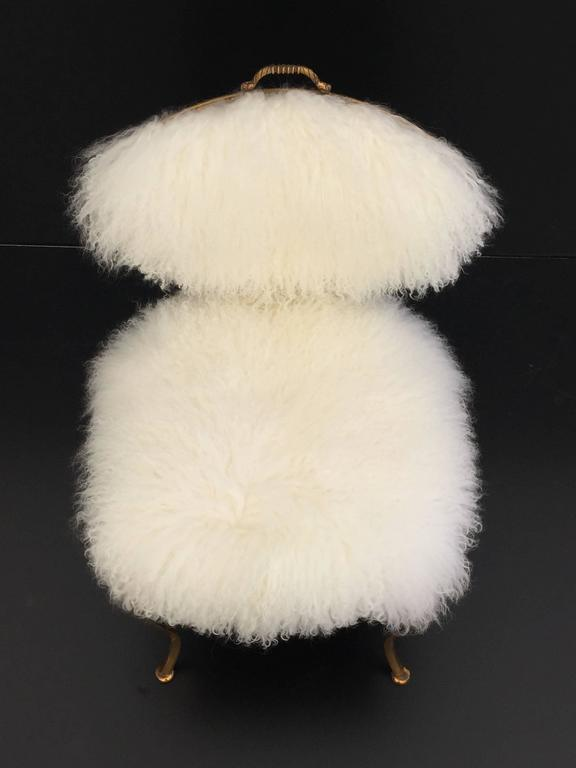 Pair Of Brass Thinline Chairs In Mongolian Fur With Fleur