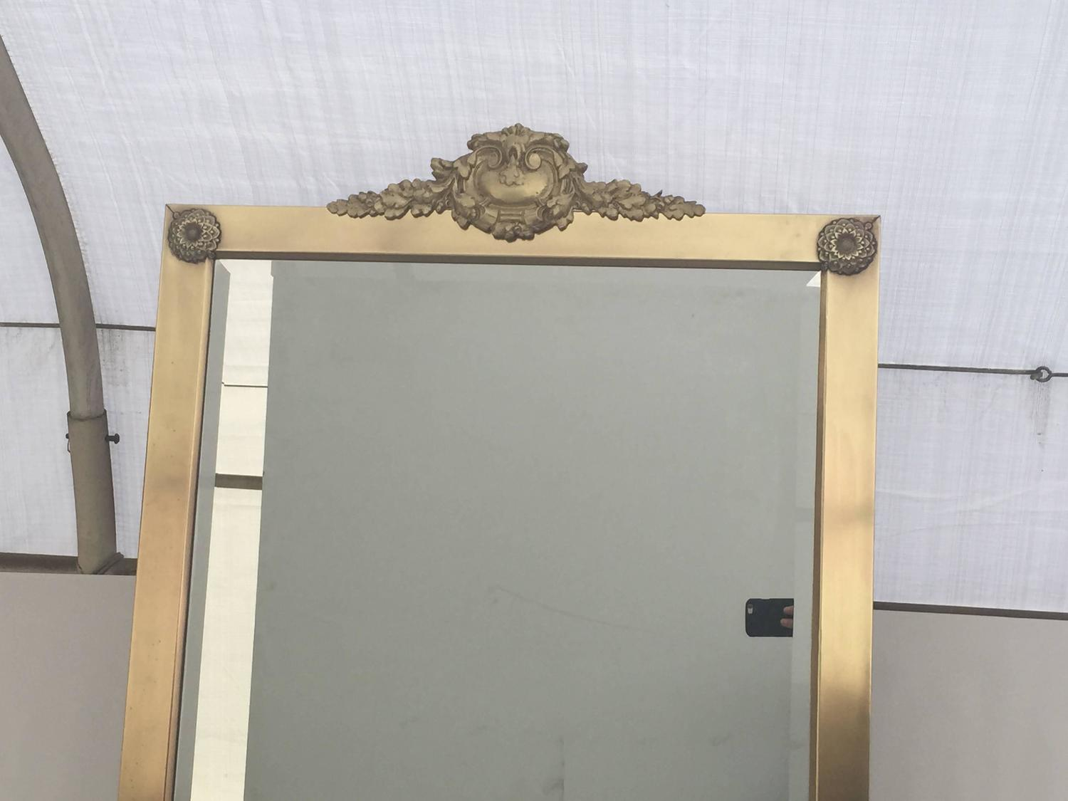 Neoclassical brass cheval tilting floor mirror for sale at for Floor mirrors for sale
