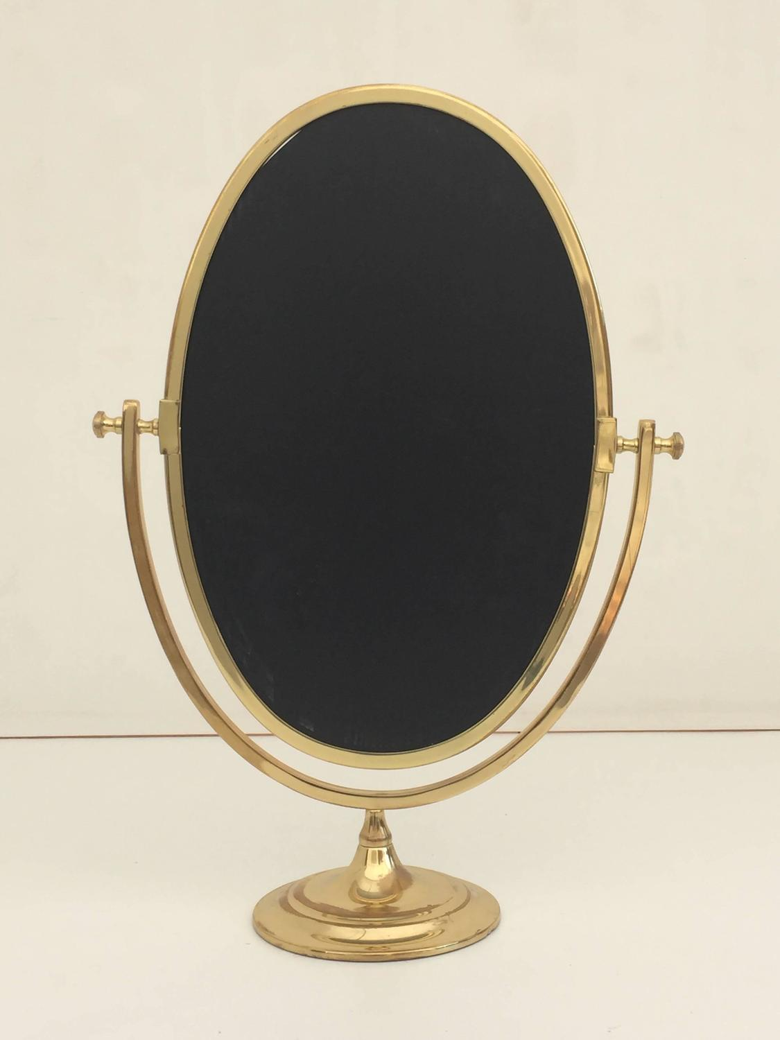 Vanity Lights For Oval Mirror : Oval Brass Vanity Mirror at 1stdibs