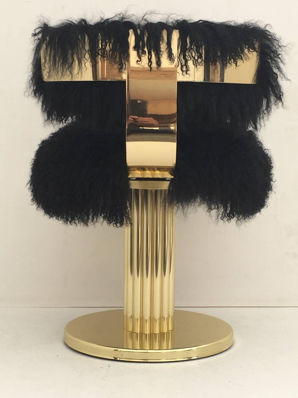 Brass Swiveling Vanity Chair In Black Mongolian Fur For
