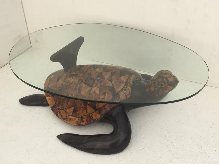 Ordinaire Tessellated Coconut Shell Turtle Coffee Table For Sale 3