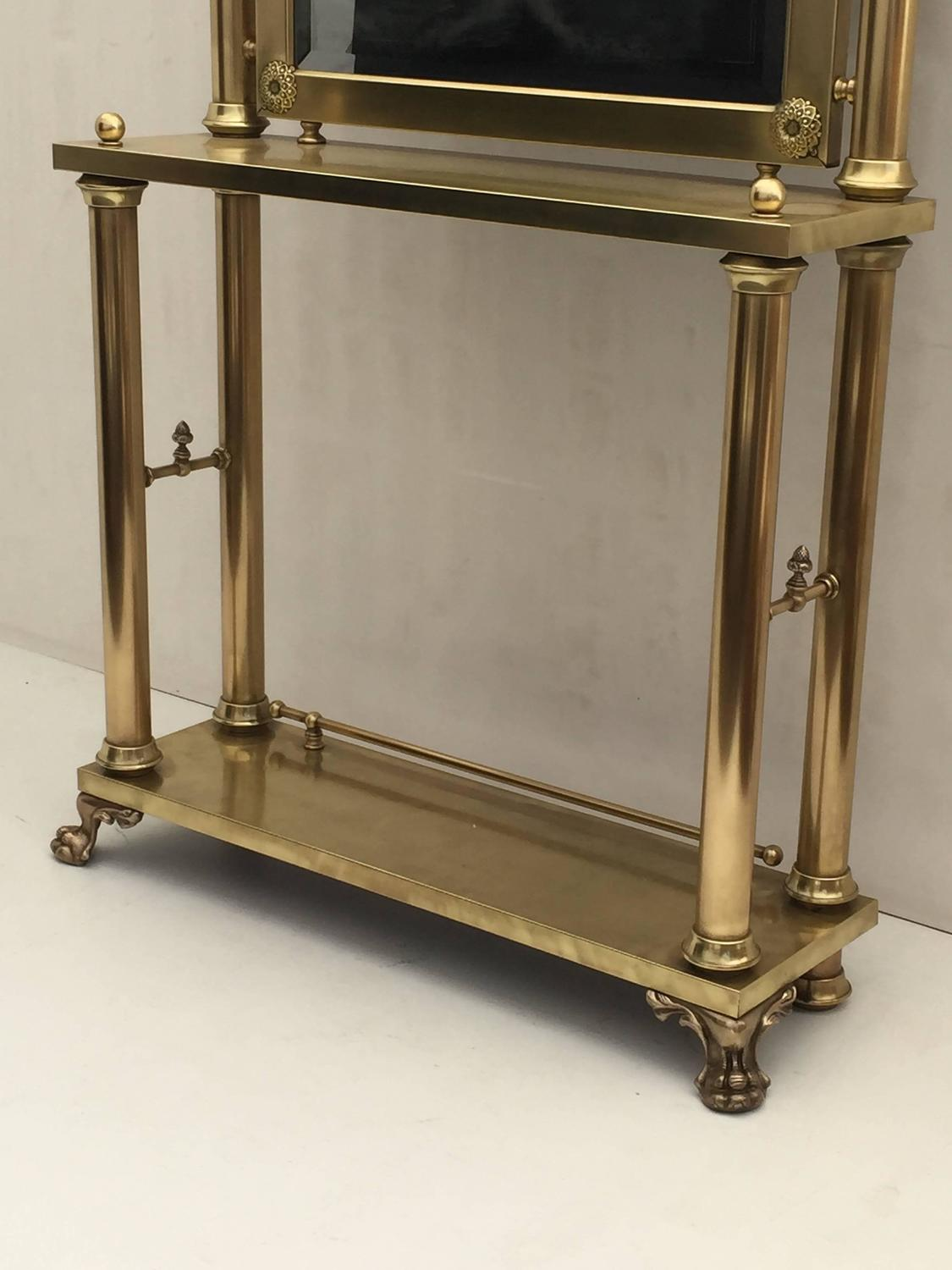 Foyer Table And Mirror On Sale On Kijiji : Neoclassical brass hall tree mirror coat hanger and