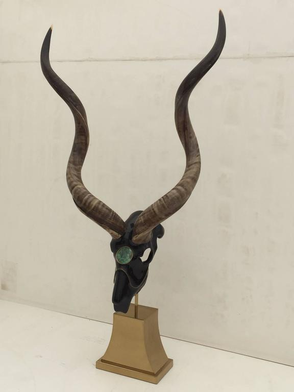 Hollywood Regency Impressive Antelope Sculpture Style of Jacques Duval Brasseur For Sale