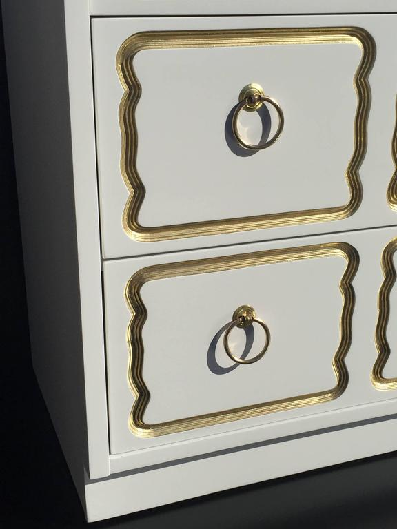 American Espana Chest by Dorothy Draper in Cream Lacquer and Gold For Sale