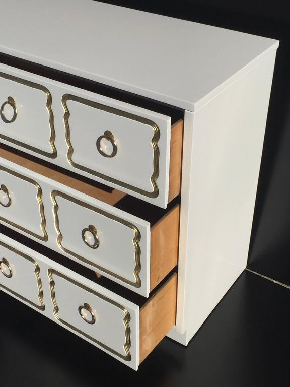 Mid-20th Century Espana Chest by Dorothy Draper in Cream Lacquer and Gold For Sale