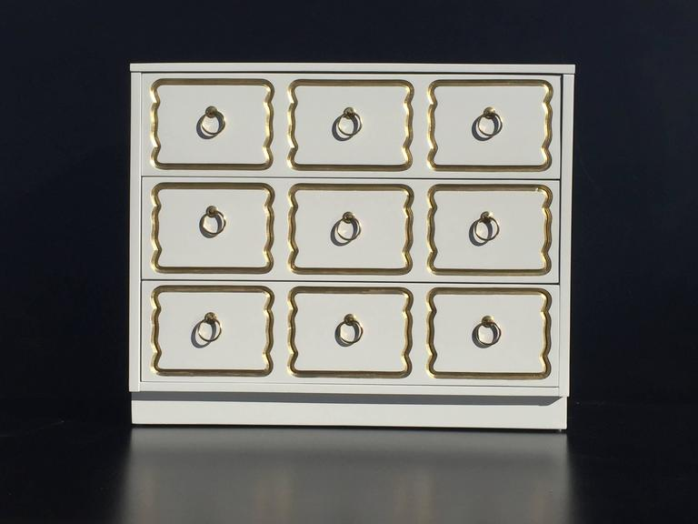 Hollywood Regency Espana Chest by Dorothy Draper in Cream Lacquer and Gold For Sale