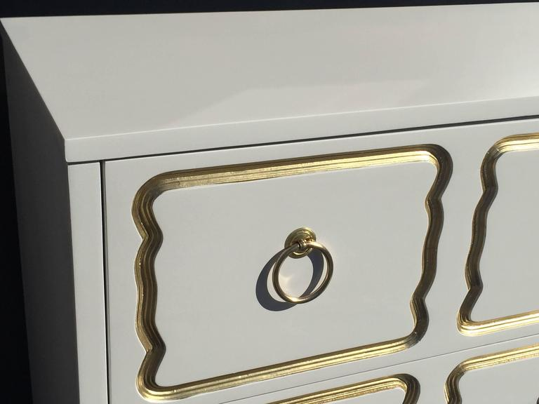 Espana Chest by Dorothy Draper in Cream Lacquer and Gold In Excellent Condition For Sale In North Hollywood, CA