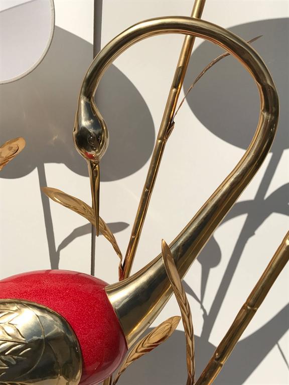 Italian Monumental Gilt Brass Crane or Egret Floor Lamp by Antonio Pavia For Sale