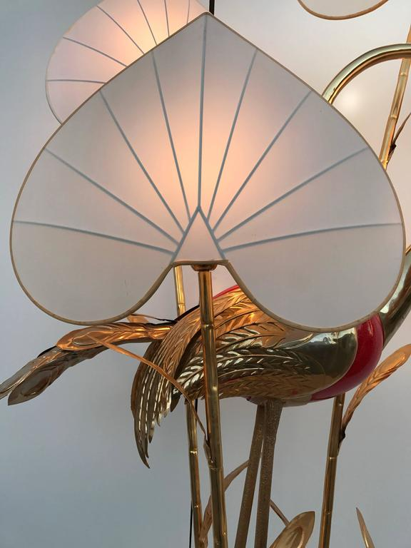 Monumental Gilt Brass Crane or Egret Floor Lamp by Antonio Pavia For Sale 4