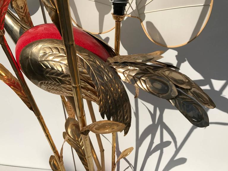 Late 20th Century Monumental Gilt Brass Crane or Egret Floor Lamp by Antonio Pavia For Sale