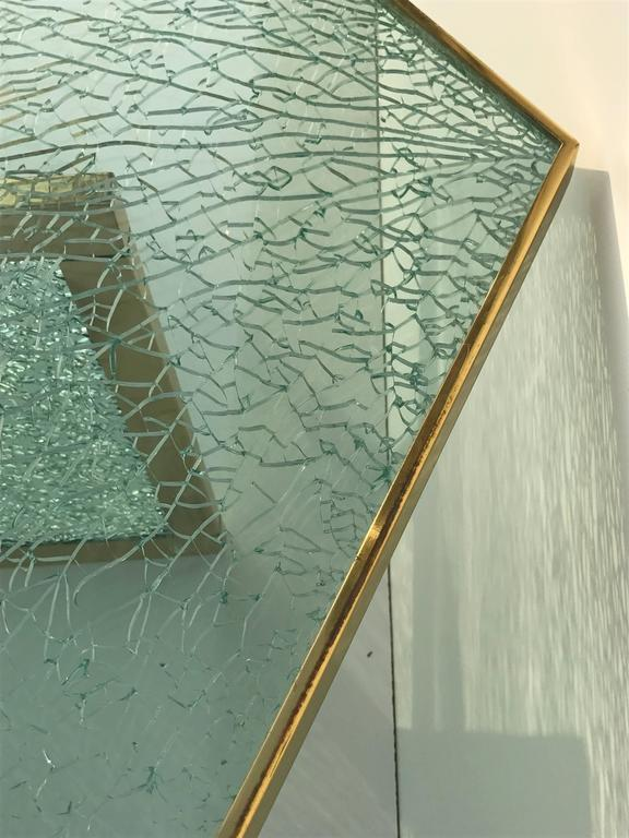 Massive Steve Chase Designed Crackled Glass and Brass Coffee Table For Sale 2