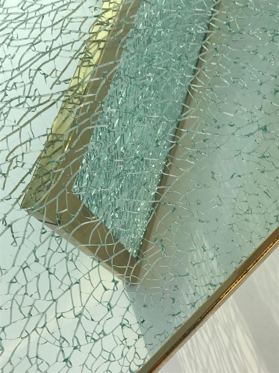 Massive Steve Chase Designed Crackled Glass and Brass Coffee Table For Sale 3