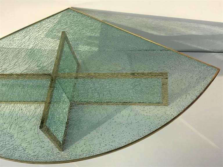 Mid-Century Modern Massive Steve Chase Designed Crackled Glass and Brass Coffee Table For Sale