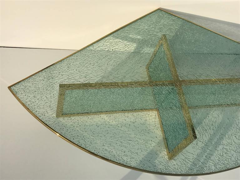 American Massive Steve Chase Designed Crackled Glass and Brass Coffee Table For Sale