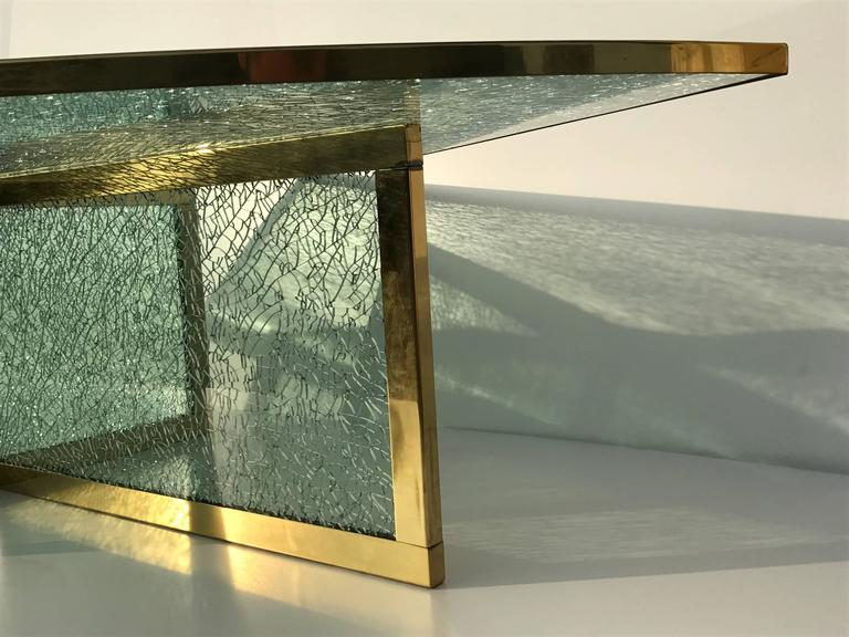 Massive Steve Chase Designed Crackled Glass and Brass Coffee Table In Excellent Condition For Sale In North Hollywood, CA