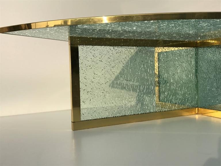 Mid-20th Century Massive Steve Chase Designed Crackled Glass and Brass Coffee Table For Sale