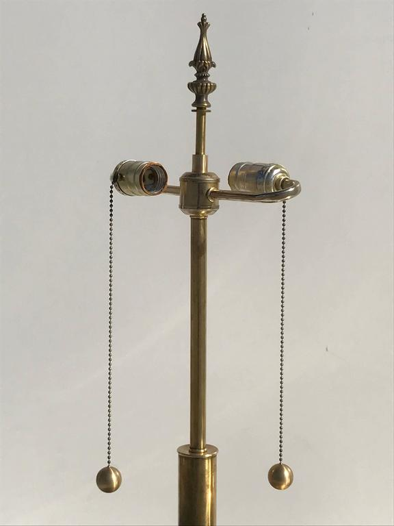 American Pair of Giant Patinated Brass Lamps For Sale