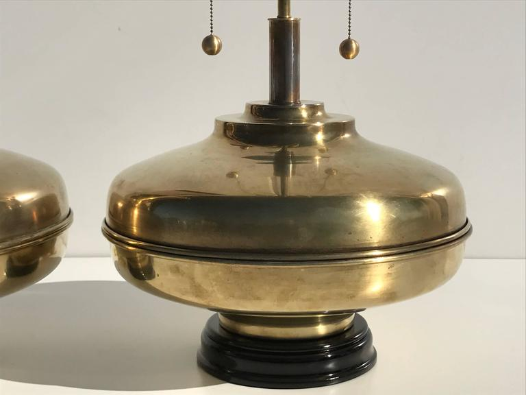 Mid-Century Modern Pair of Giant Patinated Brass Lamps For Sale